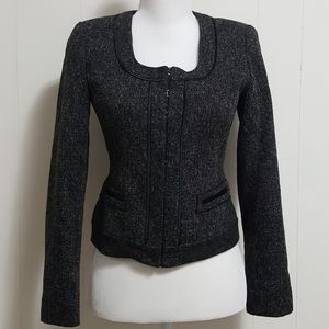 Tahari Tweed Fitted Hook Closure Blazer Jacket
